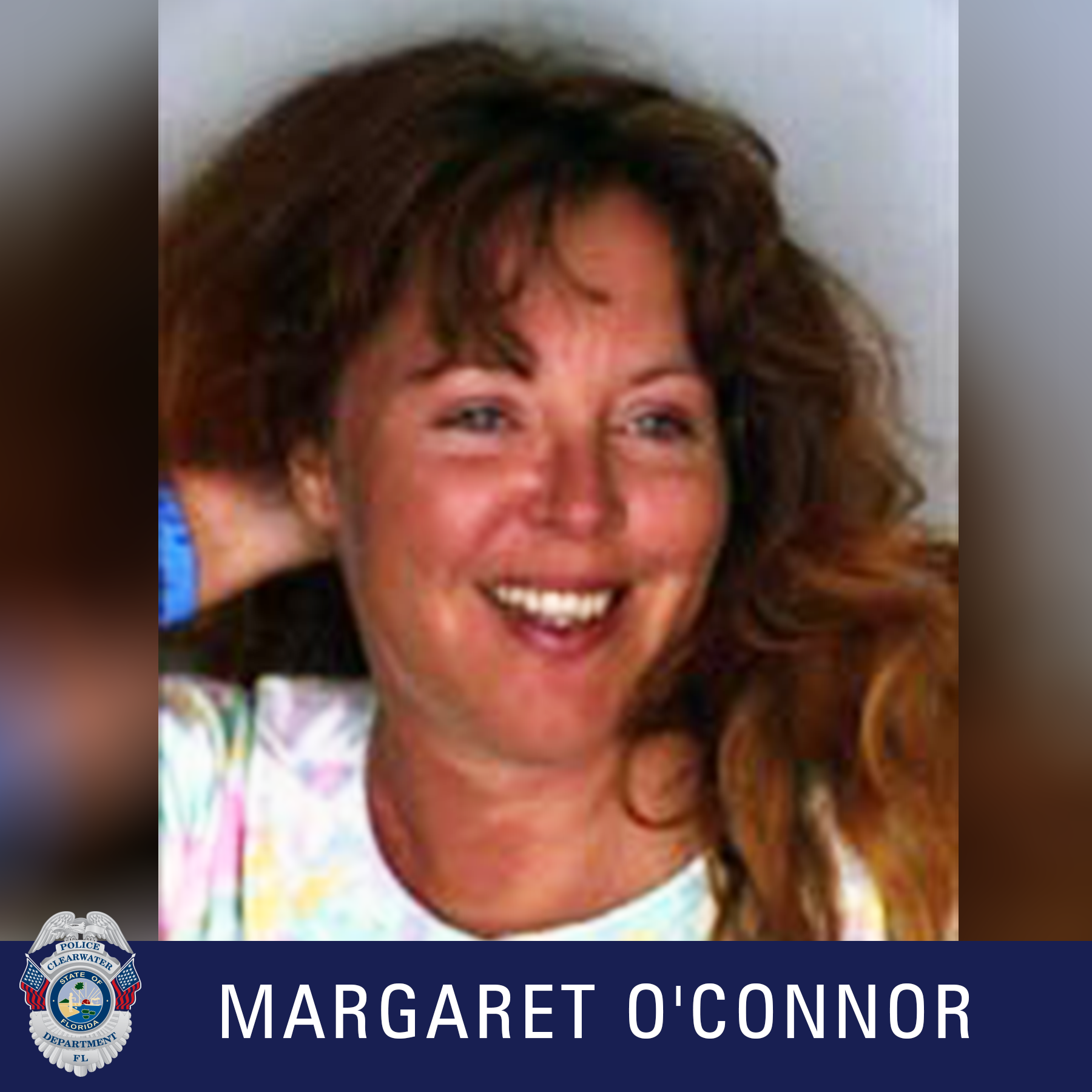 Margaret O'Connor, Clearwater Police Department Shield, Female with brown hair smiling looking away