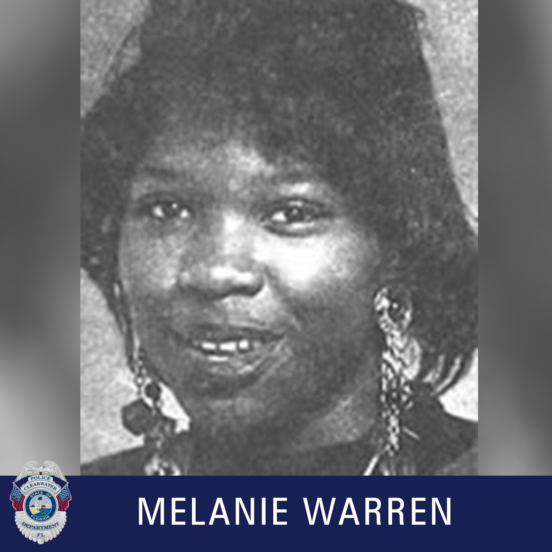 Melanie Warren, Clearwater Police Department shield, Black and white photo of female smiling