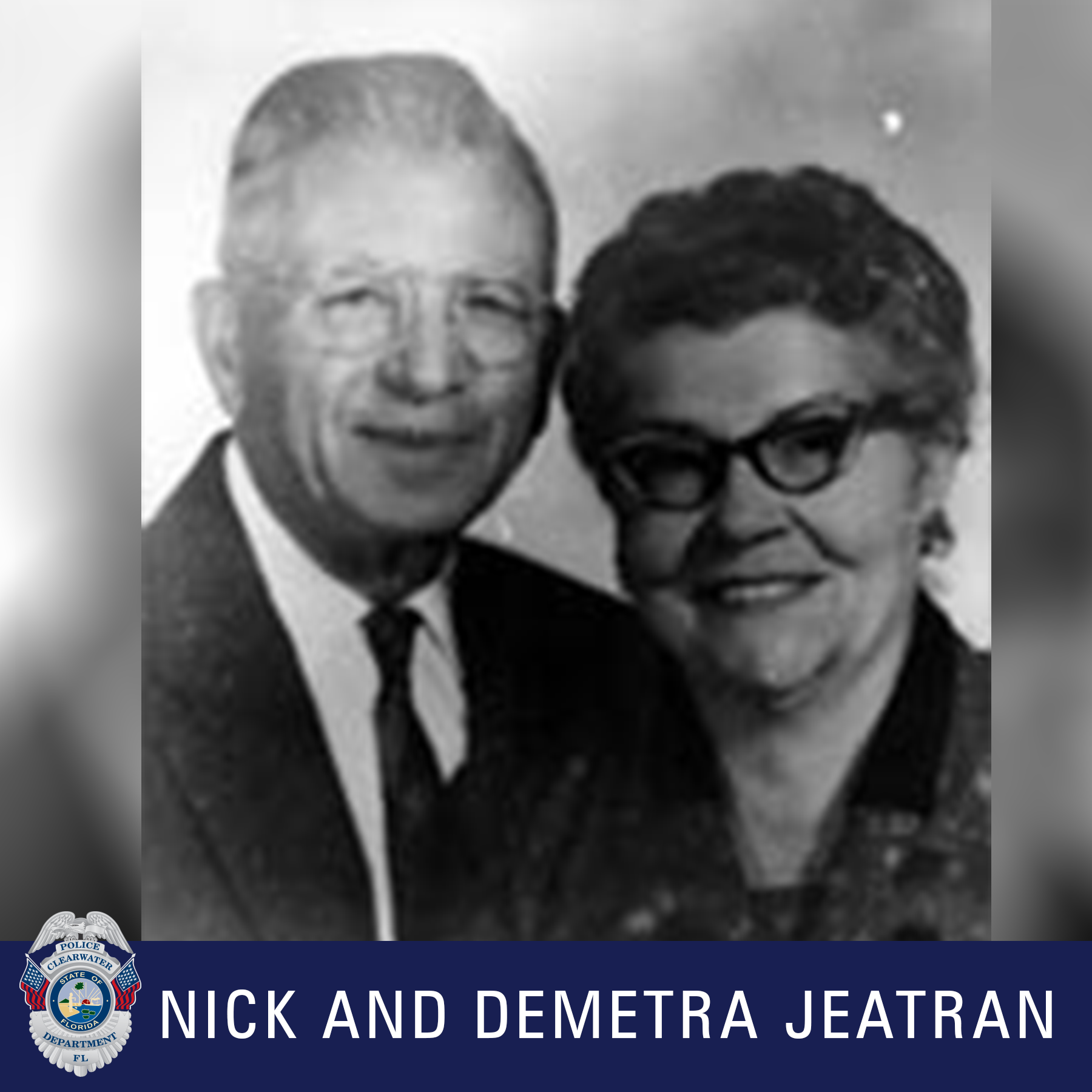 Nick and Demetra Jackson, Clearwater Police Department Shield, Black and white photo of a male and female smiling and wearing glasses