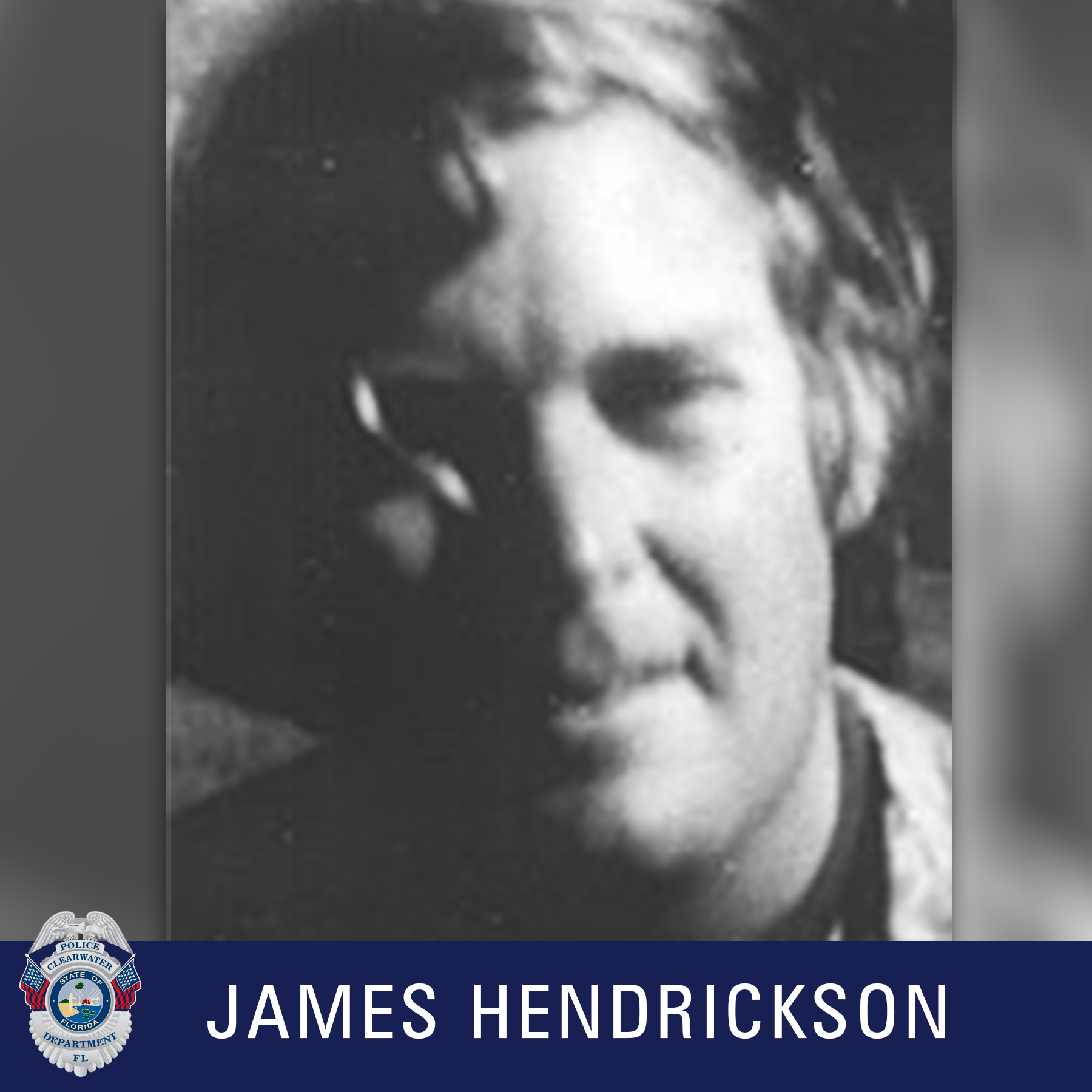 James Hendrickson, Clearwater Police Department Shield, Black and white photo of man smiling off camera