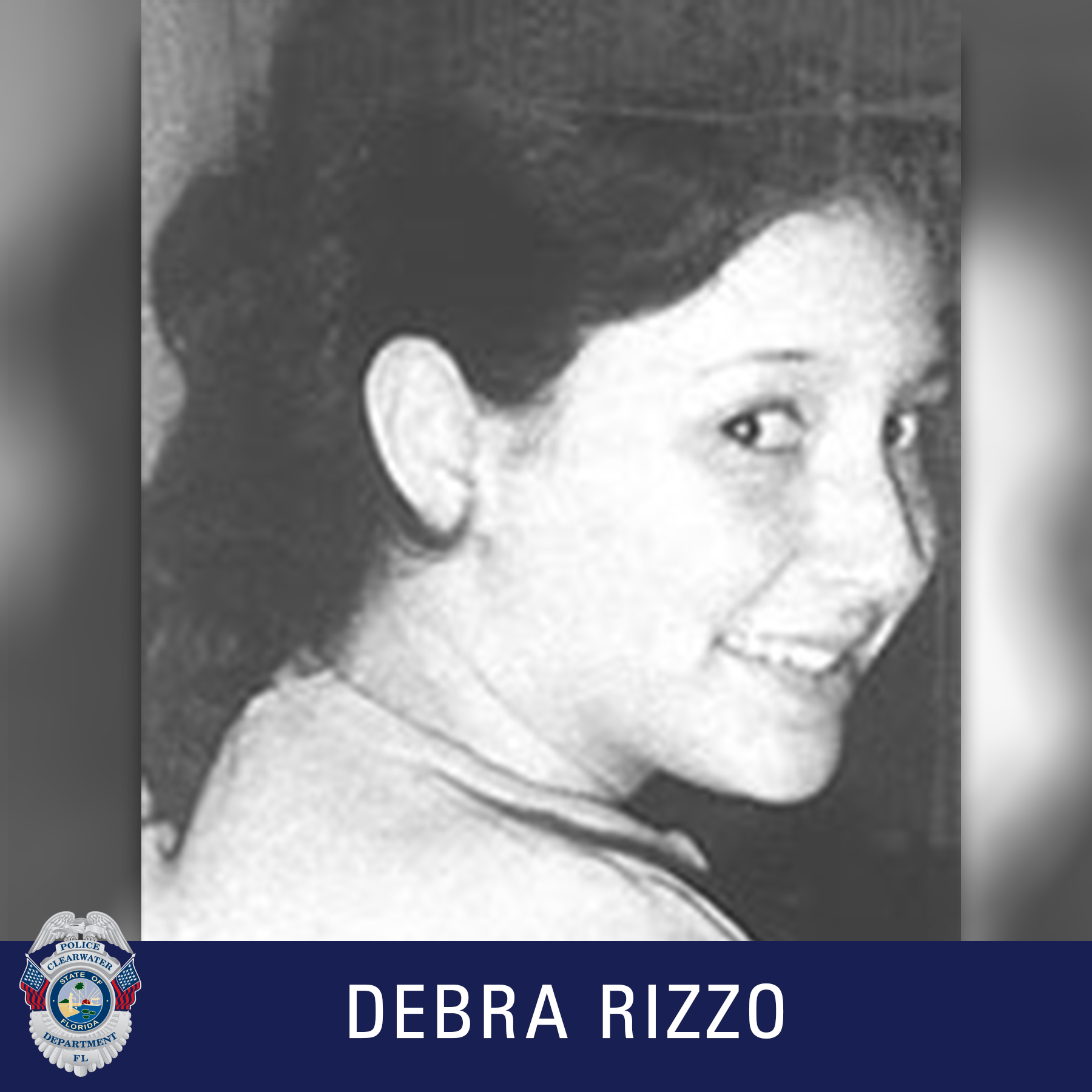 Debra Rizzo, Clearwater Police Department Shield, Black and white photo of girl smiling at the camera