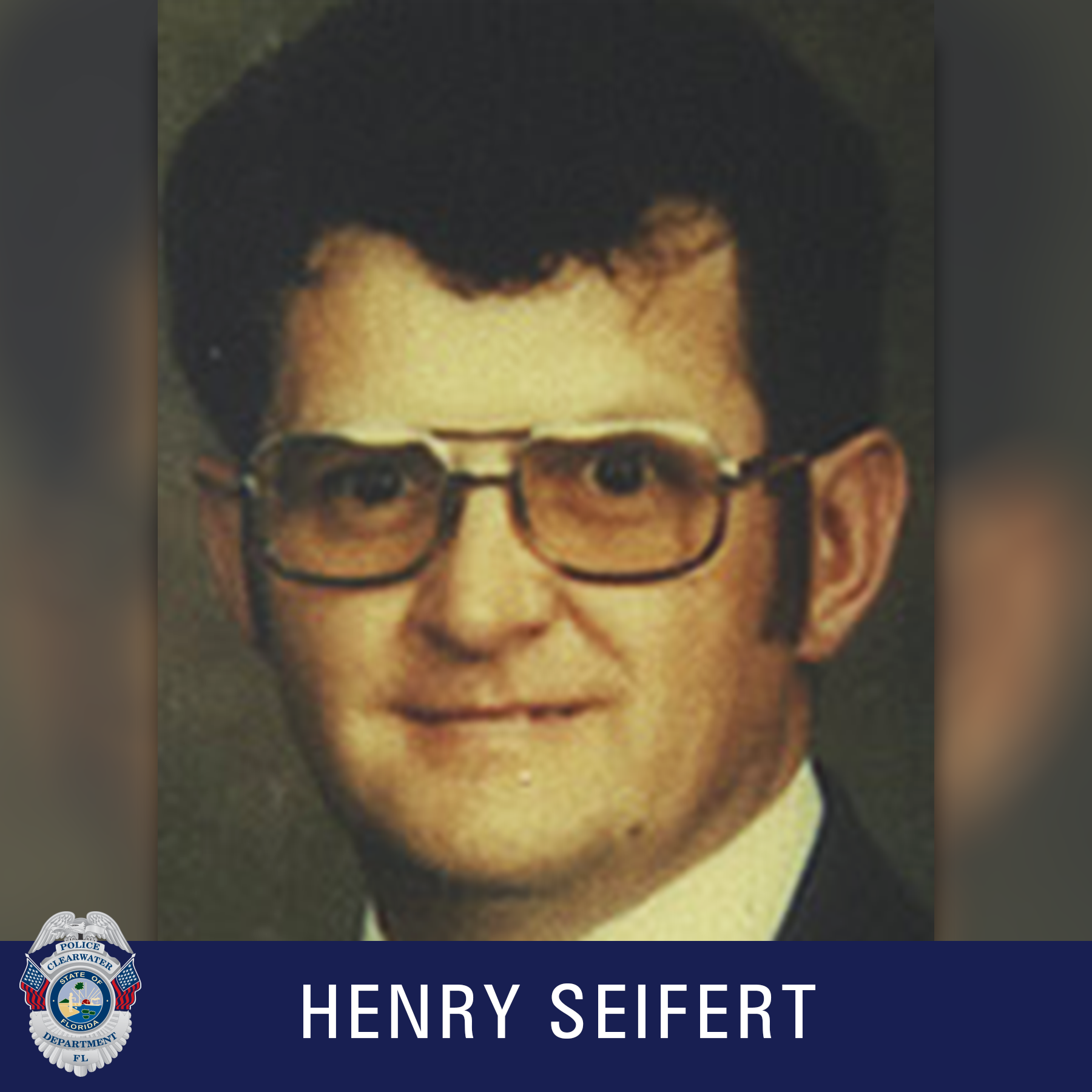 Henry Seifert, Clearwater Police Department Shield, Male wearing glasses