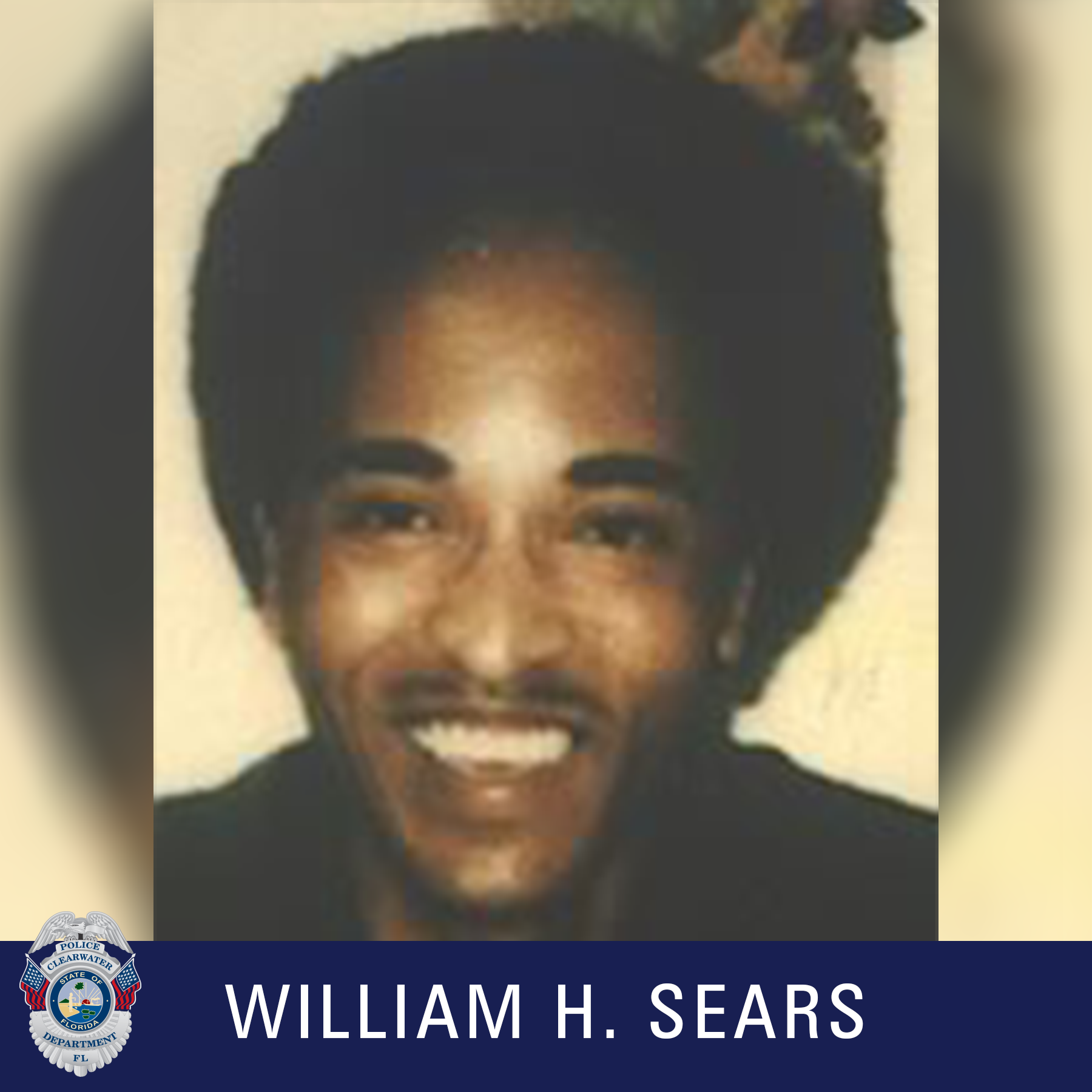William H. Sears, Clearwater Police Department Shield, Male with black hair smiling