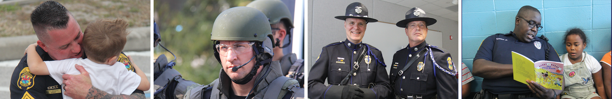 Photo of Police Officer hugging small boy, photo of SWAT member in full green armor and a headset looking out into the distance, photo of two officers dressed in honor guard attire with large hats smiling, photo of police officer reading to young boy.