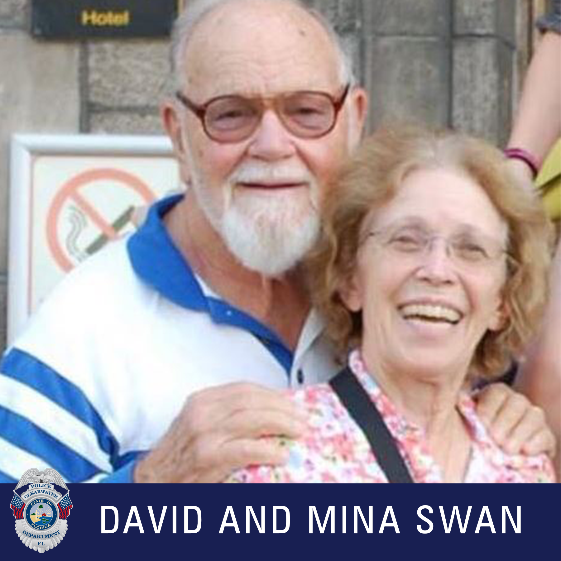 David and Mina Swan, Clearwater Police Department Shield, Cacausion male wearing black glasses and white and blue striped collared shirt hold on to a female's shoulder who is wearing glasses, smiling at the camera