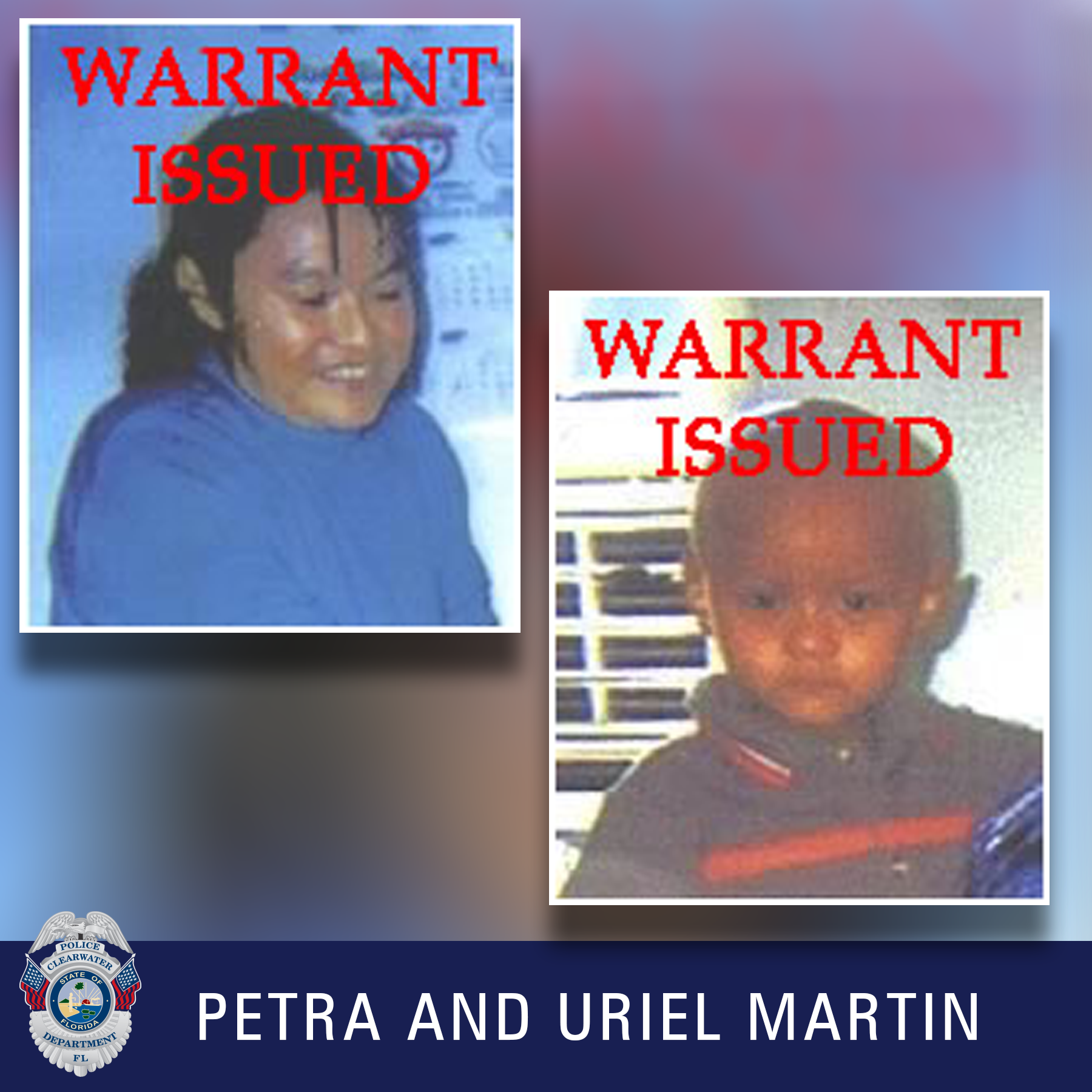 Petra and Uriel Martin, Clearwater Police Department Shield, Female with black hair in a ponytale smiling towards the ground wearing a blue shirt and a young boy with a navy and red striped shirt